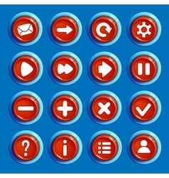Cartoon red round buttons with web icons vector image vector image