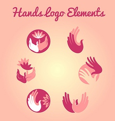 hands and flowers logo element vector image vector image