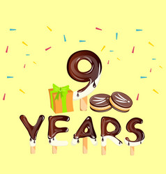 9th anniversary celebration with gift vector image vector image