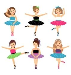 Little ballerina girls set vector image