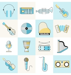 Musical instruments flat line set vector image