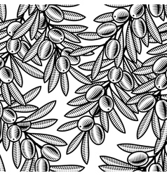 Seamless olive background black and white vector image