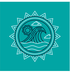 summer vacation icon with ocean in line art style vector image