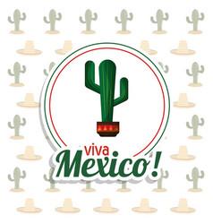 viva mexico invitation party cactus background vector image