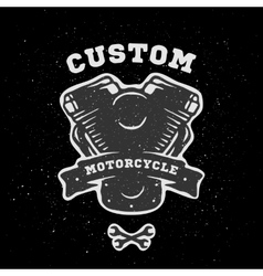 Custom engine hand drawn emblem vector image