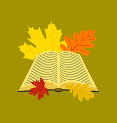 Flat icon on stylish background open book leaves vector