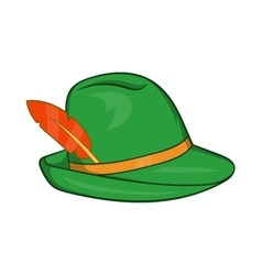 Green hat with a feather icon cartoon style vector image