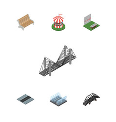 isometric urban set of carousel aiming game vector image