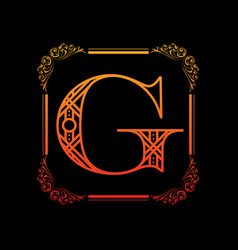 Letter g with ornament vector