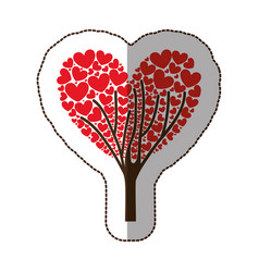red tree with heart leaves icon vector image vector image