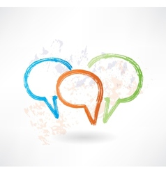 Three coloured speech bubbles brush icon vector