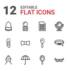 12 accessory icons vector