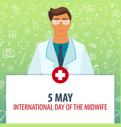 5 may international day of the midwife medical vector