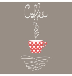 a cup hot coffee in retro style vector image