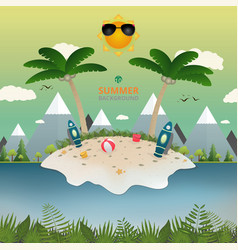 abstract of summer with island story background vector image