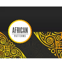 African Golden pattern on black background vector image