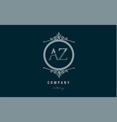 Az a z blue decorative monogram alphabet letter vector