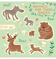 Baby and Mommy Animal Set vector