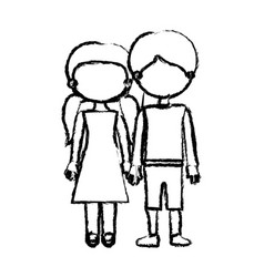 blurred black contour faceless couple girl with vector image