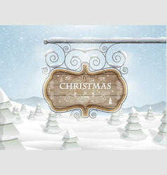 Board with Christmas greeting vector image