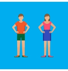 Boy and girl are standing holding arms akimbo vector