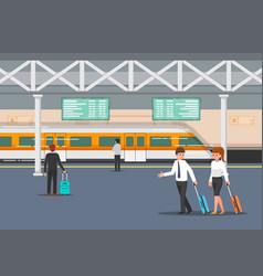 business people in modern train station platform vector image