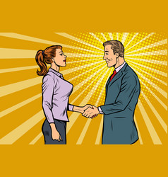 businessman and businesswoman handshake vector image
