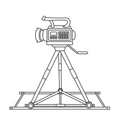 Camera moving on railsmaking movie single icon in vector