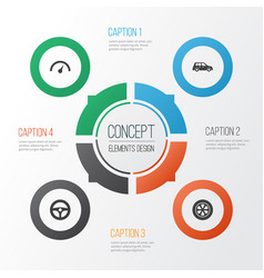 car icons set collection of wheel drive control vector image