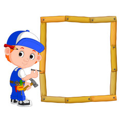 carpenter with hammer and wood frame vector image