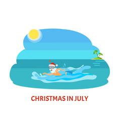 Christmas in july santa claus swimming diving mask vector
