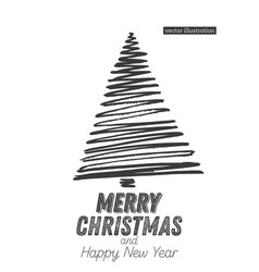 Christmas tree sketch isolated on white vector
