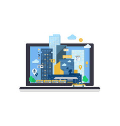 city andscape on laptop computer screen vector image