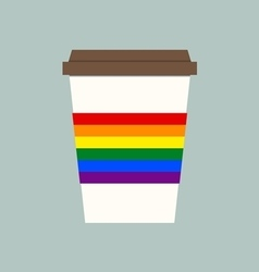 Coffee cup with LGBT flagLGBT support symbol vector image