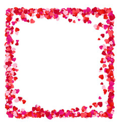 colorful red paper hearts frame background hearts vector image