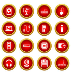 Computer icon red circle set vector