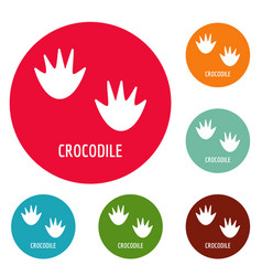 crocodile step icons circle set vector image