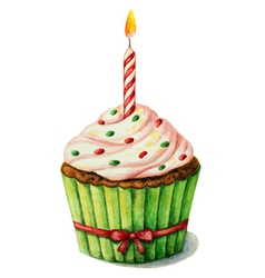 Cupcake with a candle on a birthday watercolor vector