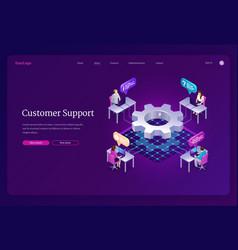 Customer support isometric landing hotline service vector