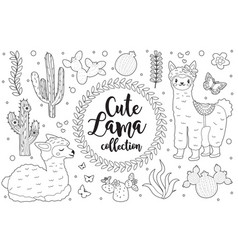 Cute little llama set coloring book page for kids vector