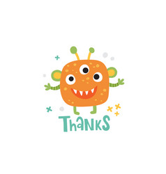 Cute orange monster and thanks lettering text vector