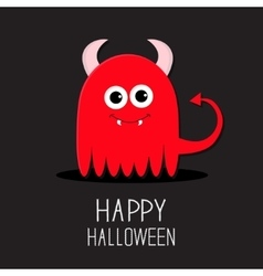 Cute red evil monster with horns and fangs Happy vector