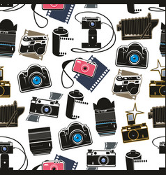 digital and retro photo cameras seamless pattern vector image