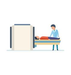 Doctor preparing patient for mri scan in hospital vector
