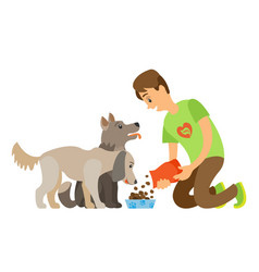 dog eating food volunteer caring dog vector image