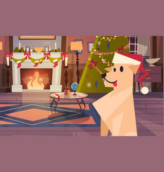 dog wearing santa hat in decorated room with vector image
