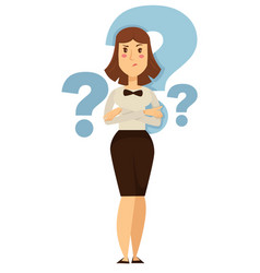 Doubt businesswoman taking decision question marks vector