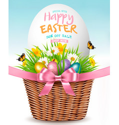 Easter sale background colofrul eggs in basket vector