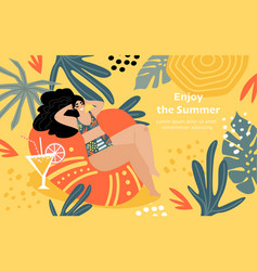 Enjoy summer concept with funny girl sunbathing vector