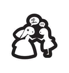 Flat icon in black and white bride friend vector